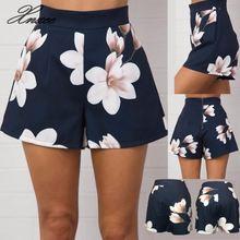 Ladies Beach Mini Shorts  S-XL Size 2020 New Navy Blue Floral Print Women Shorts Summer High Waist Casual Pockets Zipper Back navy random floral print back zipper high waist shorts with pockets