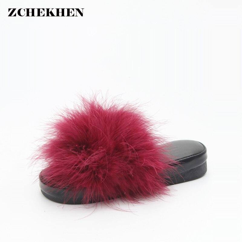 Slippers Womens Zapatos Mujer Ladies Slip Sliders Fluffy Fur Flat Fashion Female Beach Slipper Flip Flop Platform Sandal
