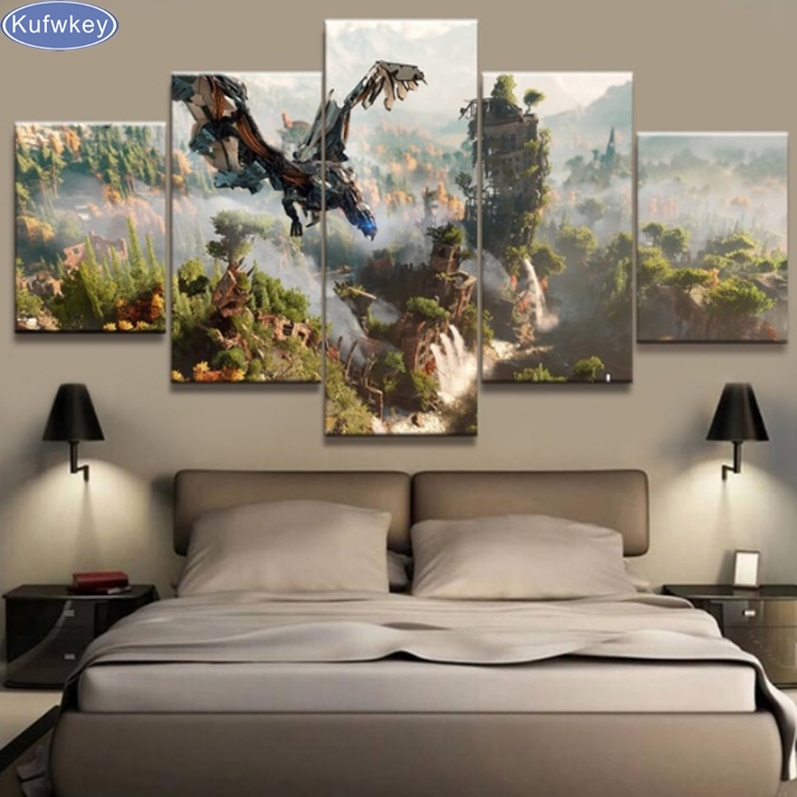 5pcs set Horizon Zero Dawn Game Canvas Full Square 5D DIY Diamond Painting 3d Diamond Embroidery