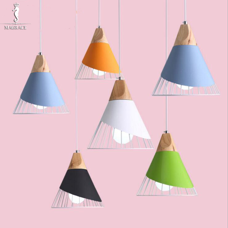 Modern Pendant Light Wood+Aluminum+Iron Lamp Colorful Restaurant Bar Coffee Dining Room Hanging Light Fixture Dia.25cm H26cm creative modern lamps pendant lights wood lamp restaurant bar coffee dining room led hanging light fixture wooden