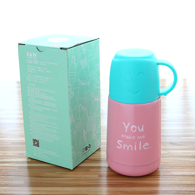 210ML Watter Bottle Smiley Face Tea Coffee Thermos Insulation Cups Mugs Bottle for Water Stainless Steel Travel Bottle QL