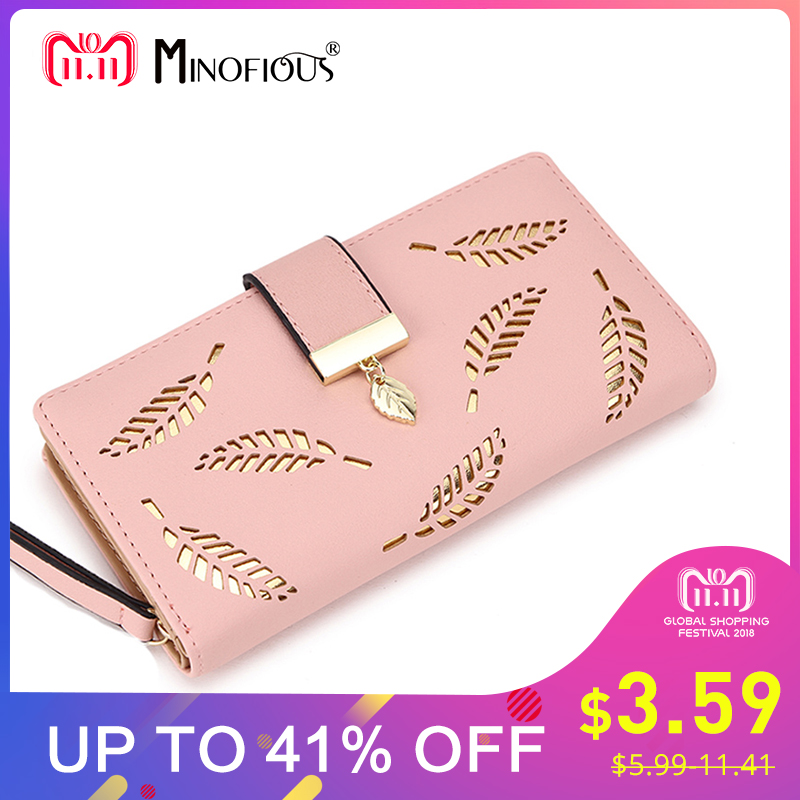 MINOFIOUS Women Wallet PU Leather Solid Purse Female Long Wallets Gold Hollow Leaves Pouch Purses Fashion Clutch Coin Wallet