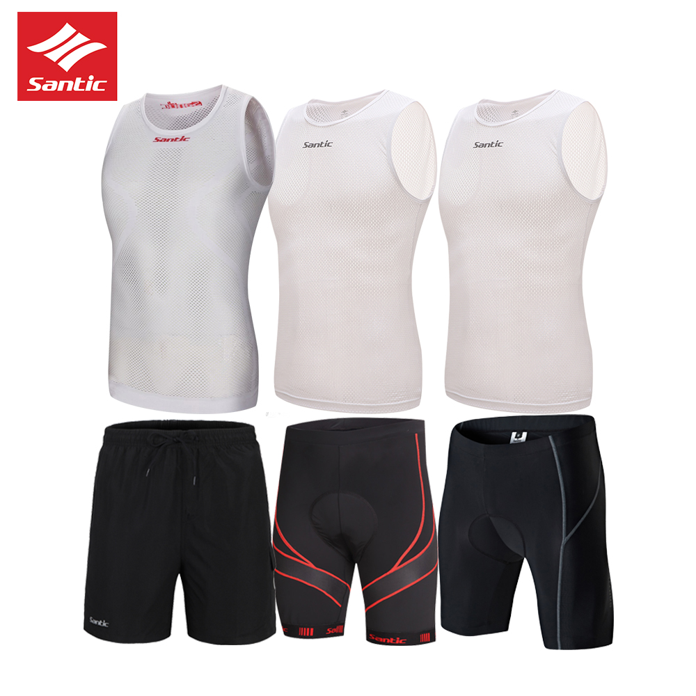 SANTIC 2018 Men Summer cycling set Swix White Reflective Cycling Vest base layer outdoor sport mtb cycling jerseys shorts set in Cycling Sets from Sports Entertainment
