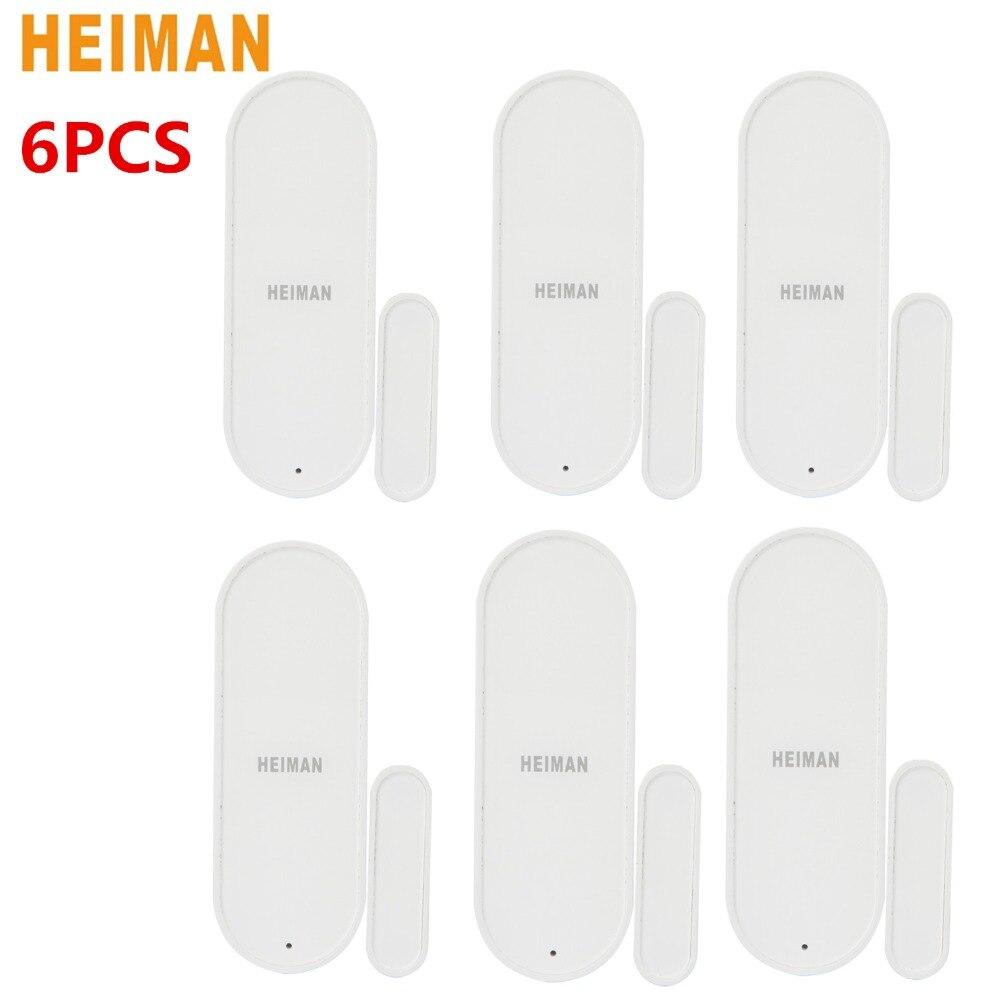 цена на HEIMAN 6PCS Smart Door Window Sensor Intelligent Home Security Equipment with ZigBee Wireless Connection with Battery HS3DS