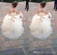 2016 Princess Lovely Flower Girls Dresses Crystals Beads Sashes White Lace Pageant Dress For Wedding Party FD105
