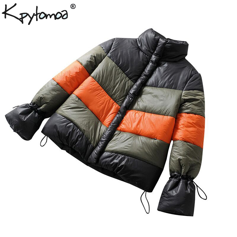 Vintage Warm Winter   Parkas   Patchwork Zipper Jacket Women Padded Coat 2019 Fashion Adjustable Waist Outerwear Casual Casaco Femme