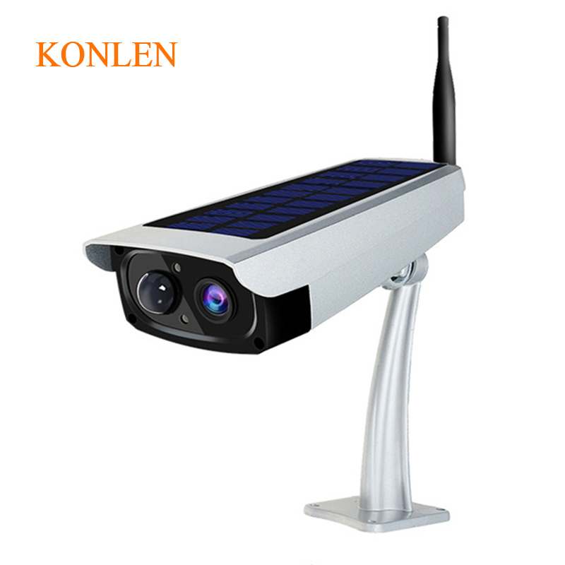 KONLEN Solar Powered Camera IP Outdoor WIFI Battery Security Bullet Cam Wireless CCTV 1080P 2MP Audio