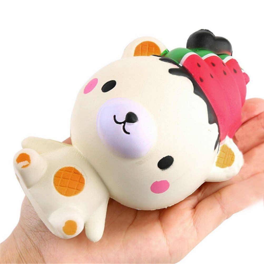 Lindo Jumbo Slow Rising teléfono correas helado oso dibujos animados colgante crema perfumado pan niños divertido juguete regalo al por mayor