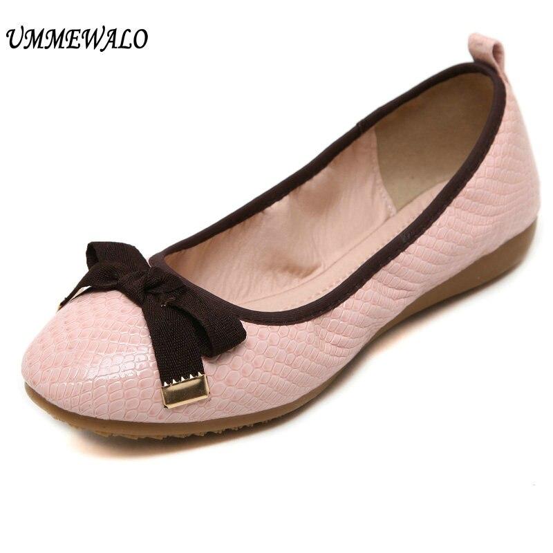 Ummewalo المرأة براءات جلدية لينة qualiy السامية جولة تو راقصة الباليه حذاء مسطح أزياء السيدات عارضة الشقق أحذية-في أحذية نسائية مسطحة من أحذية على  مجموعة 1