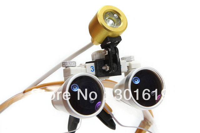 Brand New Yellow  Dentist Dental Surgical Medical Binocular Loupes 3.5X 420mm Optical Glass Loupe + LED Head Light Lamp