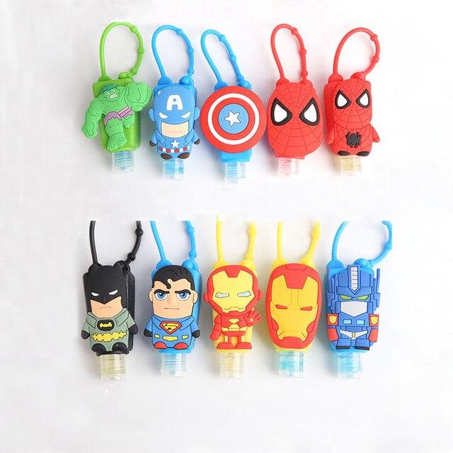 4pieces Cartoon Pattern Silicone Hand Sanitizer Holder Character Superman/Batman/Iron  Man/Spiderman