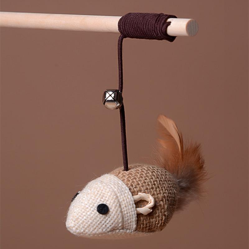 Pet Mouse Cat Toy Feather Cute Design Bird Feather Plush Pet Toy Cat Teaser Stick Pet