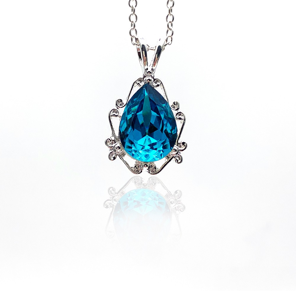 Style crystal pendant necklace classic drop crysta...