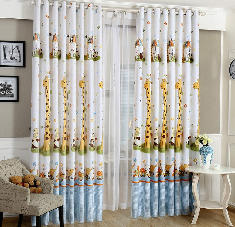 Animal print blackout baby infant room curtains children girls ...