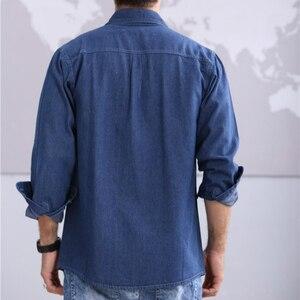 Image 5 - 2019 חדש אביב ובסתיו גברים של אדמה slim ארוך שרוולים גודל גדול חולצת ג ינס ארוך שרוולים דק מעיל