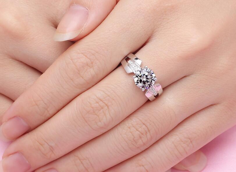Argent pur 1.5 Carat argent haut carbone bras large mariage S925 bagues de mode bijoux pour femmes (JSA) - 6