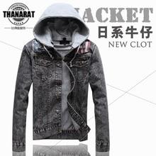 2013Fashion Vintage Casual Men'S Winter Hoodies Slim Denim Shirt Jacket Jeans Mens Hip Hop Sweatshirts M-Xxl Free Shipping D1812