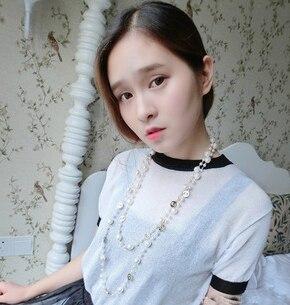 Nuevo 2015 las mujeres de moda accesorios de perlas largo collar de corea del lujo al por mayor/collier femme/sin cuello/colar/collana/gargantillas