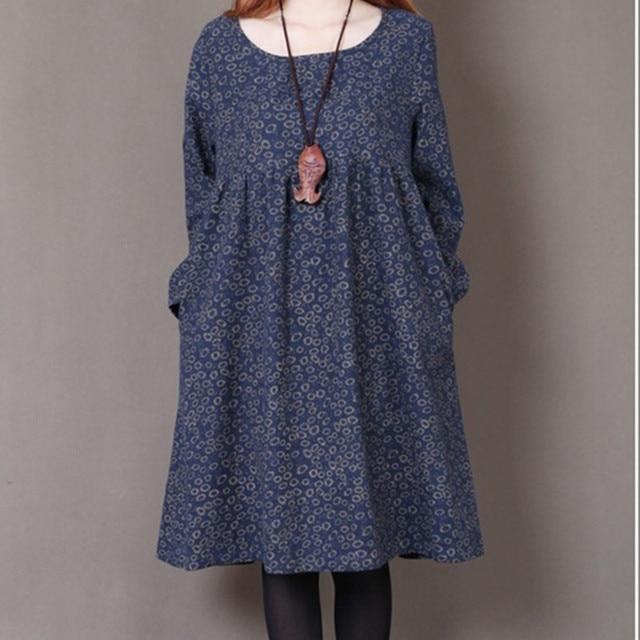 Uego 2021 New Fashion Women Autumn Spring Dress Print Floral Slim Waist Casual Dress Cotton Linen Plus Size Vintage Party Dress 1