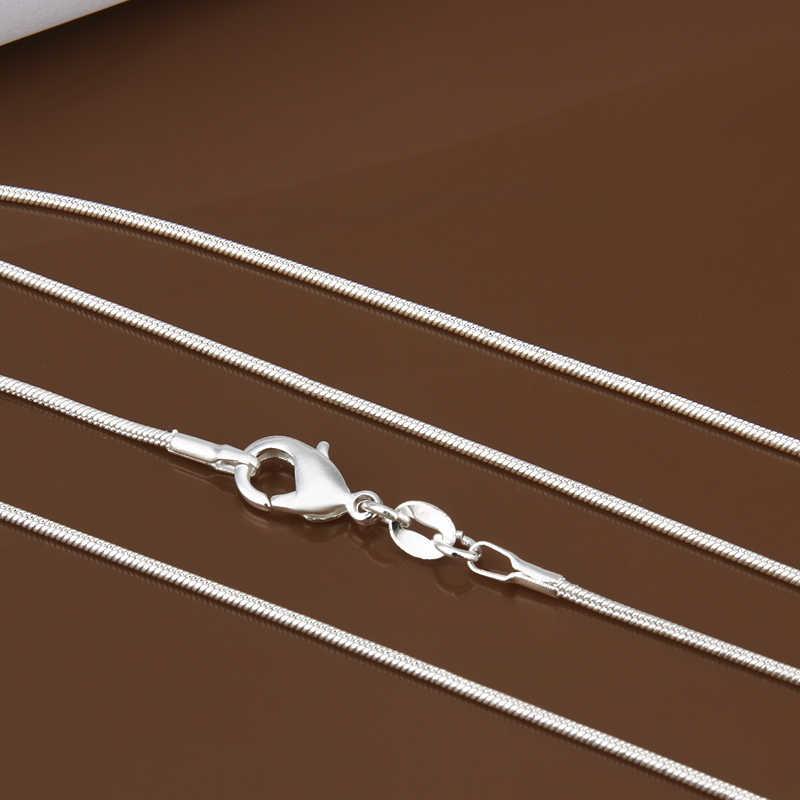 40 cm-60 cm Tiny Real 925 tem Bạc Mạ 1mm Mỏng Vòng Rắn Chuỗi Vòng Cổ Vòng Cổ Phụ Nữ đồ trang sức Ý Collier Collares Quà Tặng