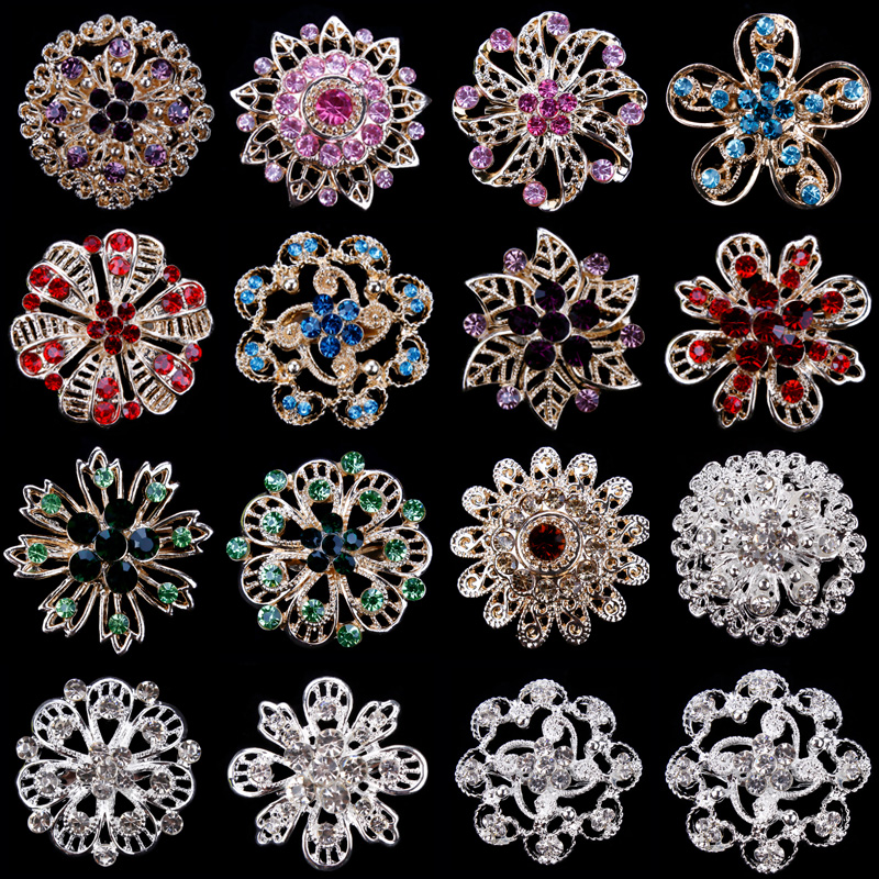 Factory Direct Sale Assorted Gold Color Plated Color Crystal Rhinestones Flower Fashion Brooch Pins for Women Assorted