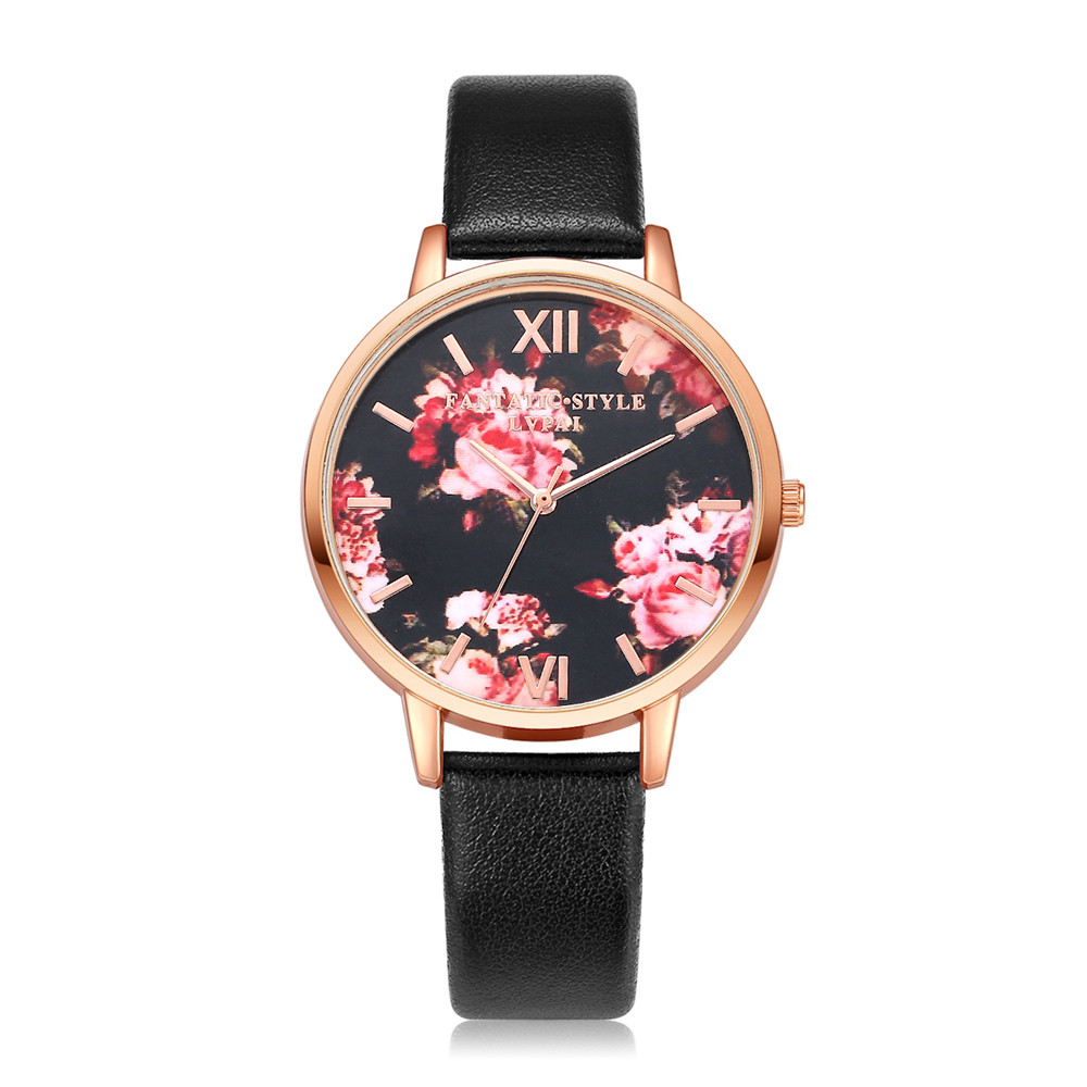 LVPAI High Quality Beautiful Fashion Women Bracelet Watch Leather Belt Rose Print Casual Round Analog Quartz WristWatch Clock #B