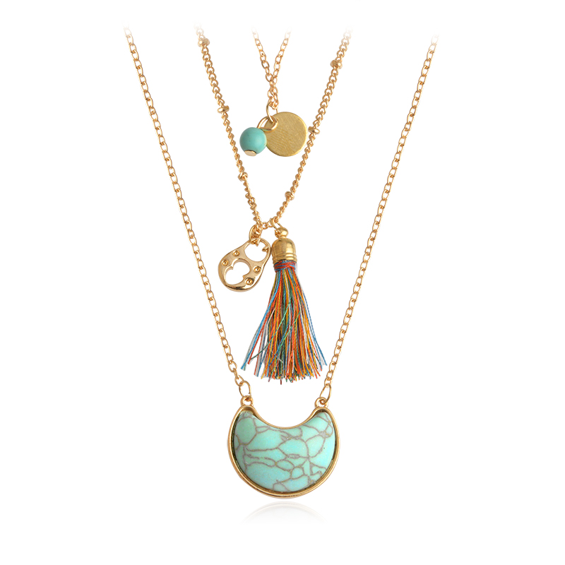 Miss Zoe Bohemian Style Multilayer Stone Tassels Necklace Pendant Triple Chian Vintage Ethnic Jewelry BOHO Accessories for Women