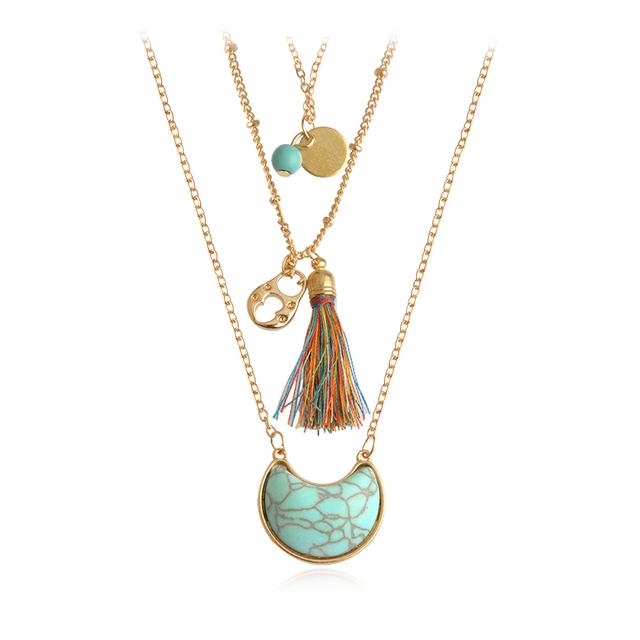 Triple Chain Stone Tassel Necklace