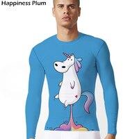Unicorn Shirt Rainbow Blue Horse Funny T Shirt Men Long Sleeve 3d Print Tshirt Summer Tee