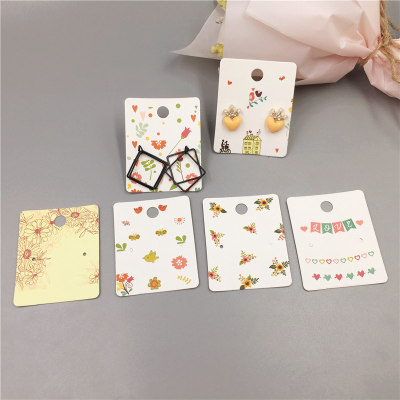50 Pcs Fashion Jewelry Packaging Card Colorful Printed Paper Earrings Cards For Stud Earring Displays Cards 5x4cm