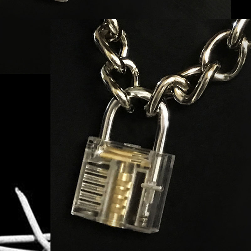 Image 5 - Men Women Unisex Metal Chain Choker Necklace Mechanical Steampunk Transparent Clear Square Lock and Key Choker Collar-in Choker Necklaces from Jewelry & Accessories