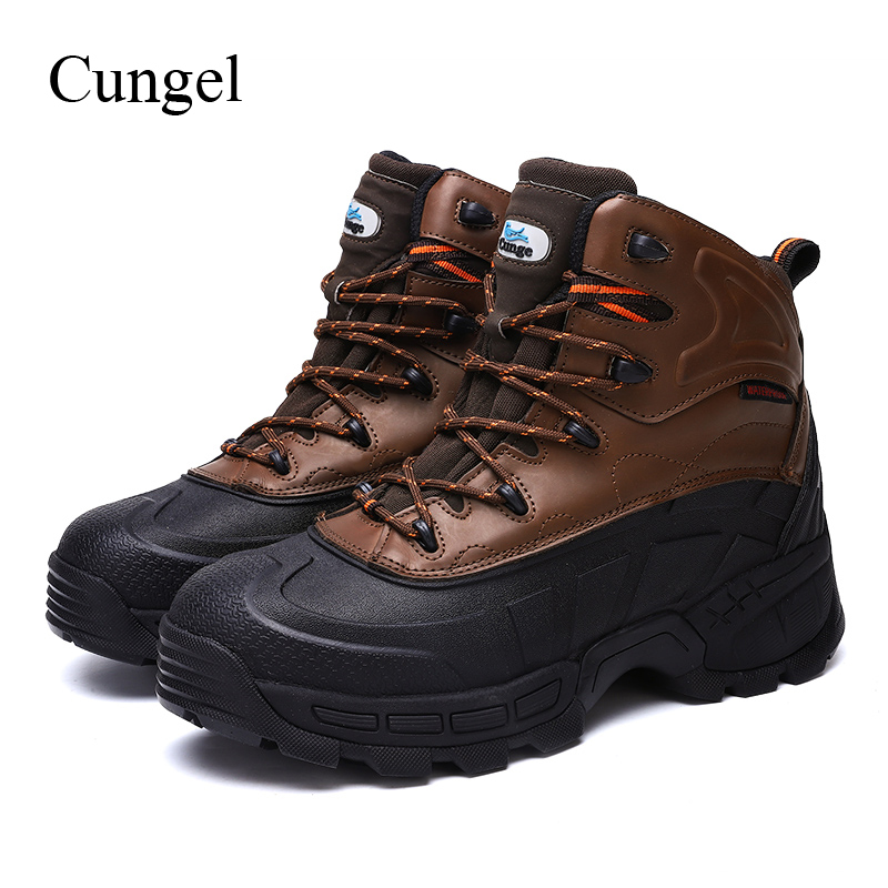 Cungel New Men Outdoor Hiking shoes Steel toe cap Safety shoes High quality Leather Work boots Military Combat boots Climbing