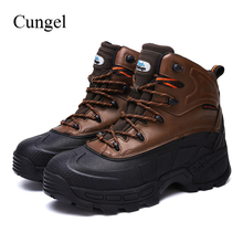 Cungel New Men Outdoor Hunting boots Steel toe Safety shoes High quality Leather Work Military Combat Hiking