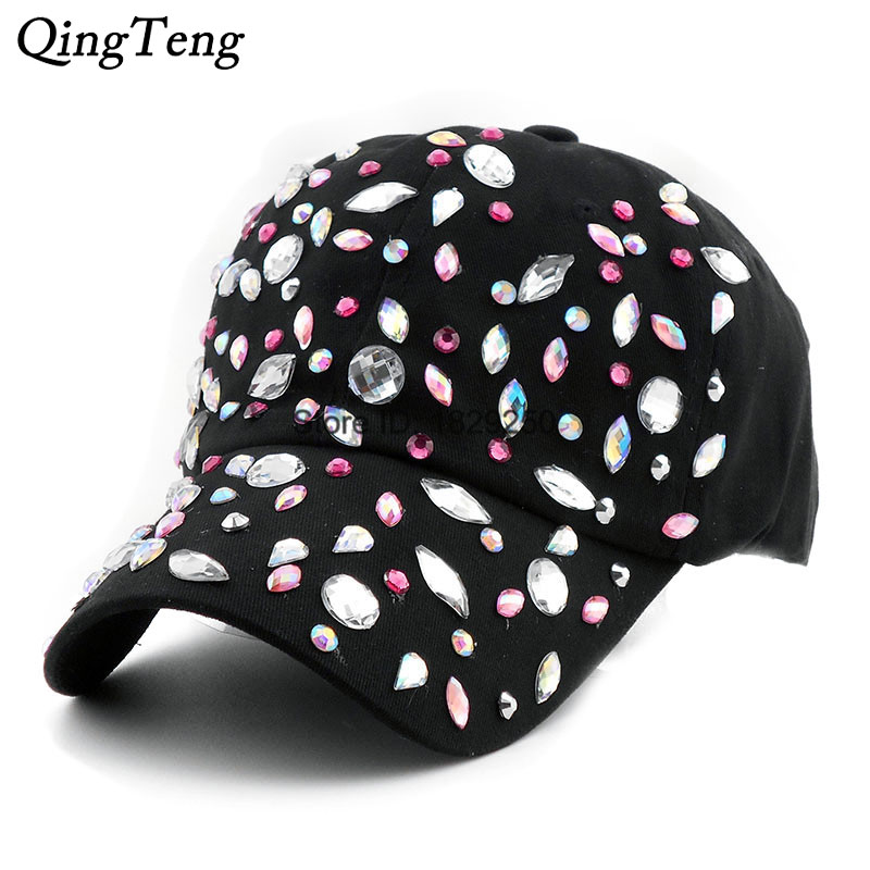 4dba74db3338f Detail Feedback Questions about Bling Water Wave Ladies Rhinestone Black Baseball  Caps Denim Do Old Casual Hat For Spring Adjustable Cotton Cap Diamond Hats  ...