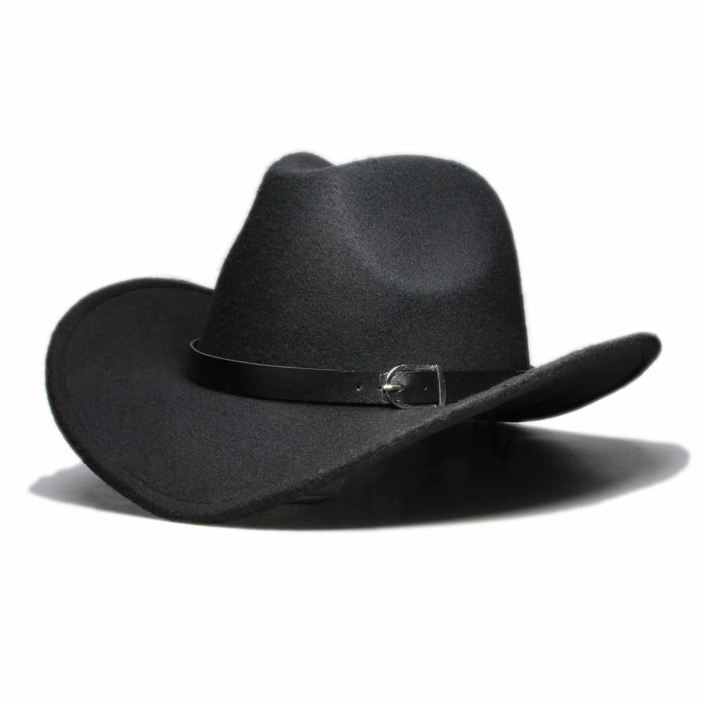 LUCKYLIANJI hombres mujeres Unisex País de cuero occidental de vaquero  sombrero de fieltro de lana de b305690aed8