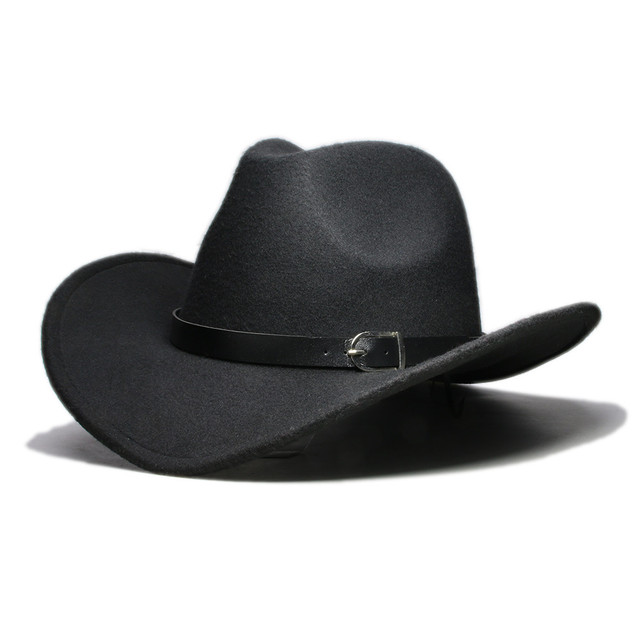 fb286303156f9 LUCKYLIANJI Men Women Unisex Country Cowboy Western Leather Band Hat Fedora  Trilby Wool Felt Jazz Chapeu