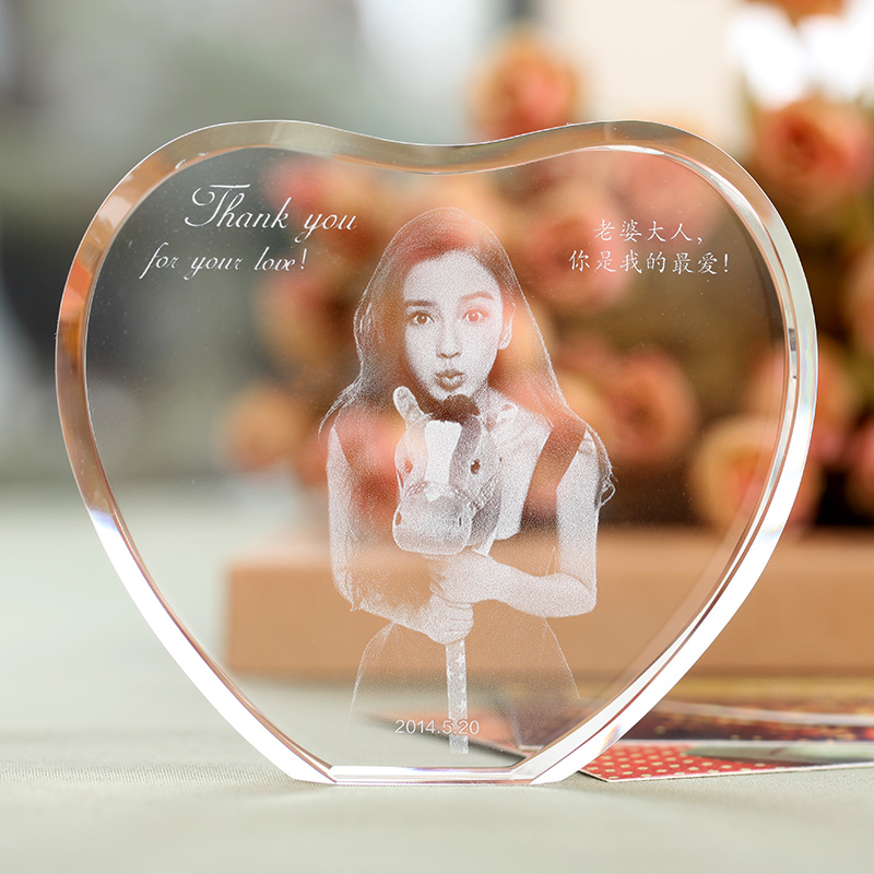 customized heart shape laser engraved crystal photo album family wedding photo frame for valentines day anniversary gifts in photo albums from home - Engravable Frames