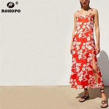 ROHOPO Women Spaghetti Strap Floral Midi Dress Red Floral Printed Pleated Vintage Dress Slip Bottom Maxi Vestido #TW7121 wrap floral slip midi dress
