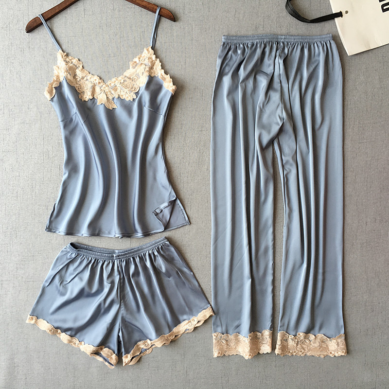 Freshing Summer 3 Pcs Spaghetti Strap Embroidery Women   Pajama     Set   Nightdress+Short/Long Pant   Set   Brand Hight Quality   Pajamas