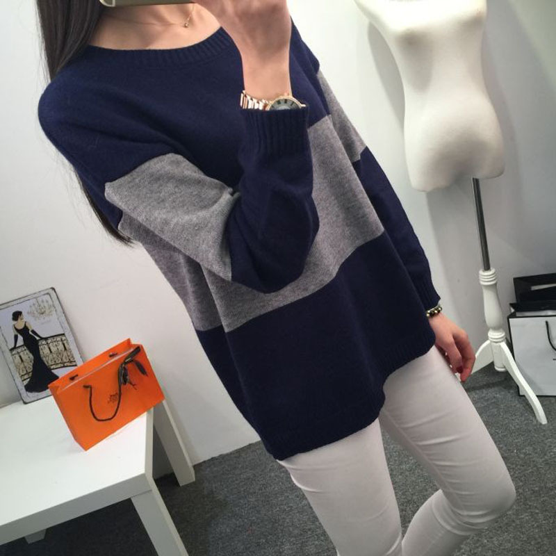 Kesebi 2017 Autumn Winter New Hot Fashion Female O neck Warm Panelled Knit Pullovers font b