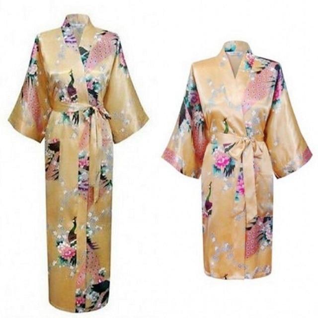2018 New Fashion Silk Satin Robe Floral Bathrobe Short Kimono Dressing Gown  For Women Girl Wedding Bridesmaid Peacock Pajamas cddb83954