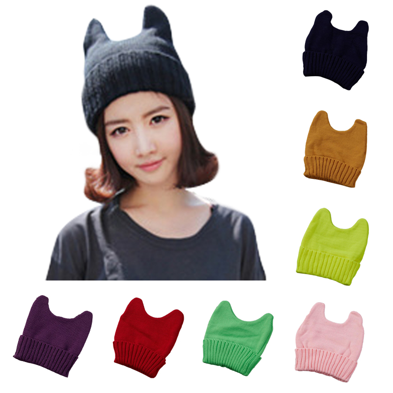Autumn Hat 2017 Fashion Knitted Hats Women Knitting Beanie Devil Horns Black Cat Ear Hats for Girls Hip Hop Women's Cap 21Colors футболка toy machine devil cat black