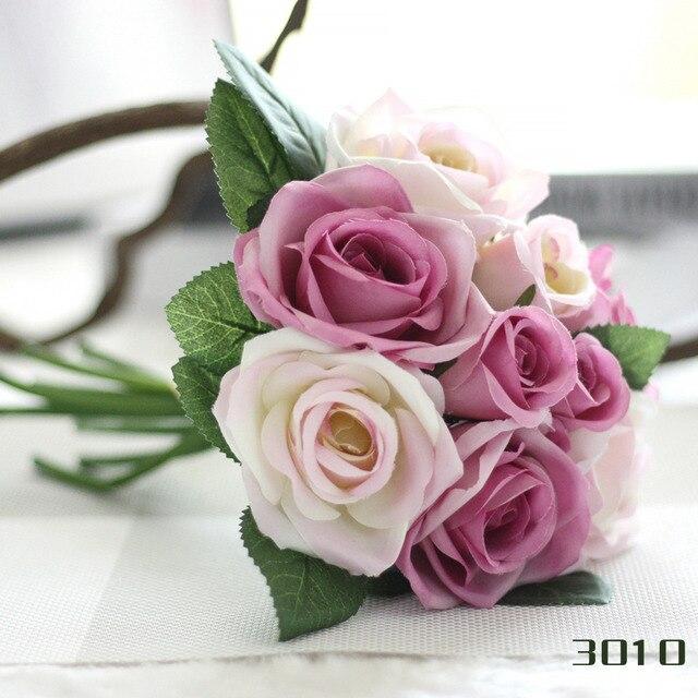 Hot Silk flower wedding bouquet roses dahlias Artificial flowers ...