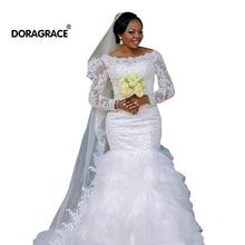 Doragrace Vestido De Noiva Long Sleeves Wedding Dresses Mermaid Lace Princess Bridal Gowns Plus Size