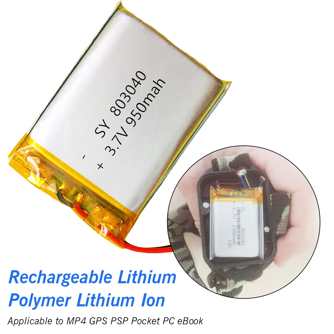 High Capacity Rechargeable <font><b>Battery</b></font> 803040 <font><b>3.7V</b></font> <font><b>950mAh</b></font> Lithium Polymer <font><b>Li</b></font>-Po <font><b>ion</b></font> <font><b>Battery</b></font> For MP4 MP5 GPS PSP Mobile Pocket PC image