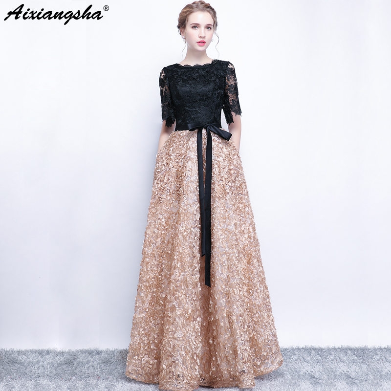 Black Champagne   Prom     Dresses   2018 Scoop Half Sleeves Lace Appliques Zipper Long   Prom     Dress   Elegant Vestido De Festa Gala Jurken
