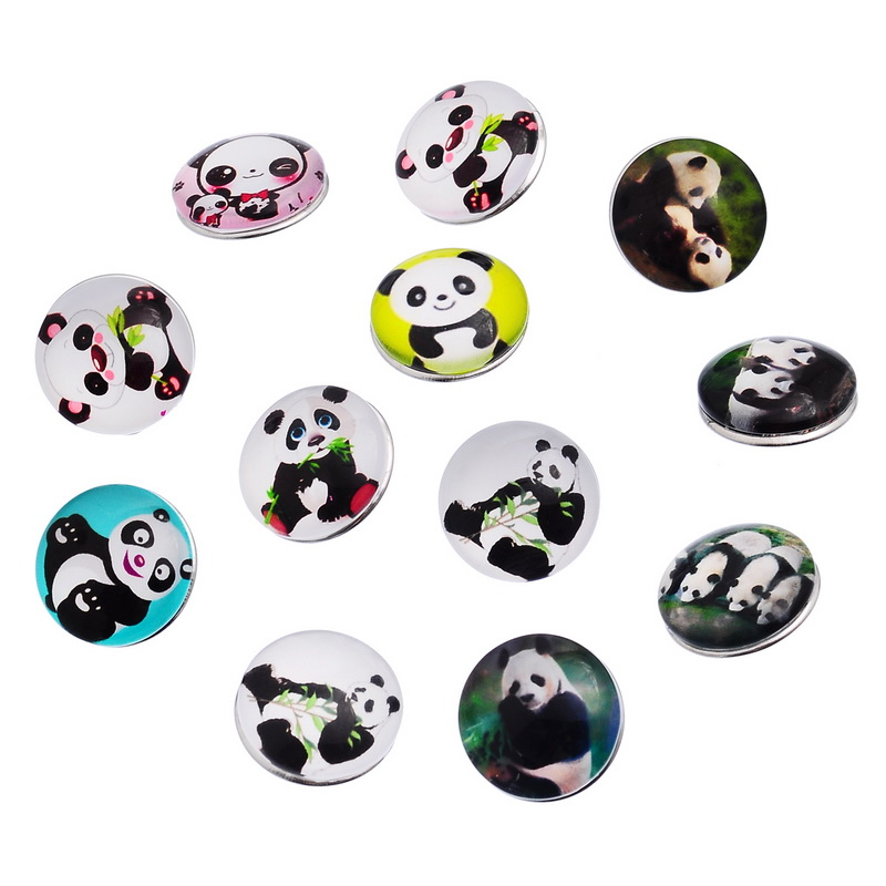 10Pcs Mixed Lovely Panda Patterns Round Glass Click Snap Press Buttons DIY Crafts Charm Making 18mm image