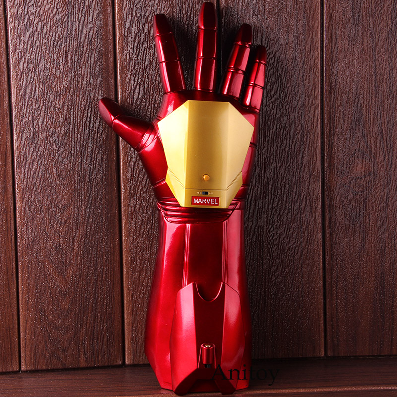 High Quality 1/1 Iron Man Arm Glove Iron Man Cosplay Glove with LED Light Infrared Launchable Marvel Action Figures Toy Doll