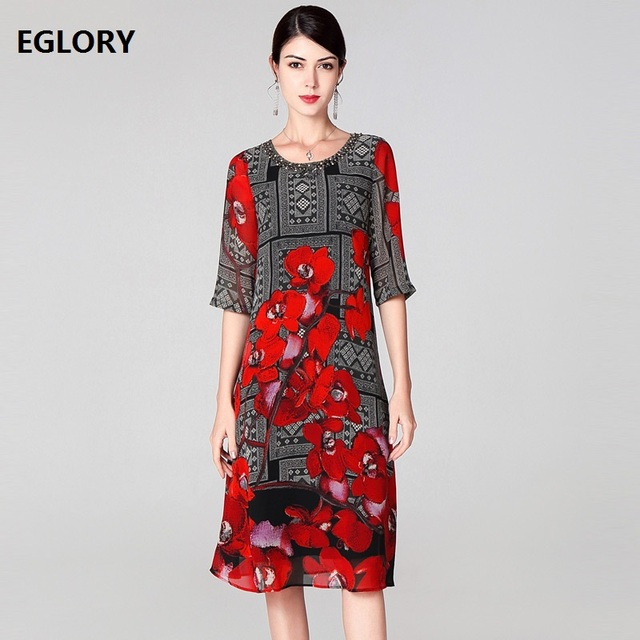 New Plus Size Dresses 2019 Spring Summer Party Vintage Dresses Women Beading Red Floral Print Elegant Loose Silk Dress 50s 60s