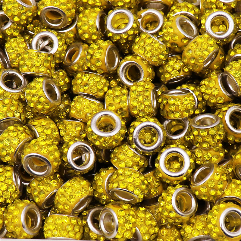 100Pcs 12 8mm Large Hole Crystal Spacer Glass Beads Murano fit Pandora Bracelet Charms Chain Necklace for Jewelry Making in Beads from Jewelry Accessories